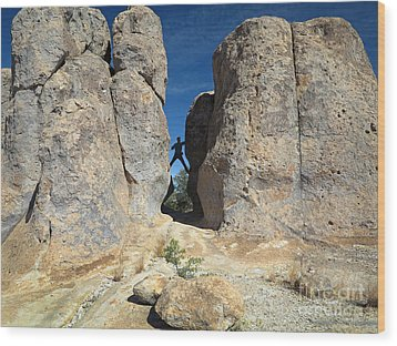 Wood Print featuring the photograph Climber City Of Rocks by Martin Konopacki