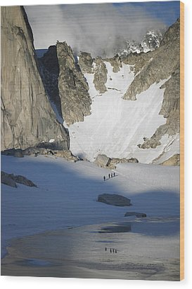Climbers Enroute To The Bugaboo Snowpatch Col Wood Print