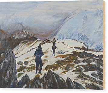 Climbers - Painting Wood Print by Veronica Rickard