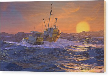 Climbing The Sea Wood Print by Dieter Carlton