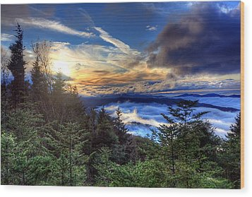 Clingman's Dome Sunset Wood Print by Doug McPherson