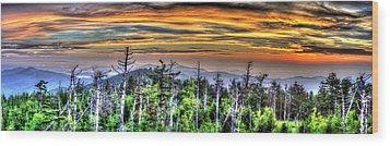 Clingmans Sunset Panoramic Wood Print