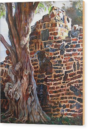 Clinker Wall Wood Print by LaVonne Hand