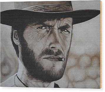 Clint Eastwood Wood Print by David Dunne