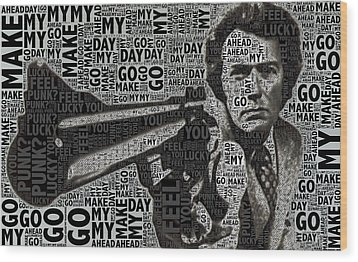 Clint Eastwood Dirty Harry Wood Print