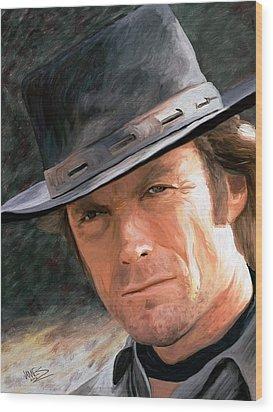 Clint Eastwood Wood Print by James Shepherd