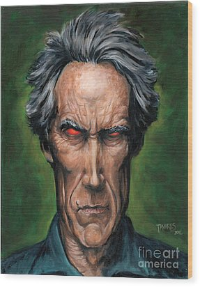 Clint Eastwood Wood Print by Mark Tavares
