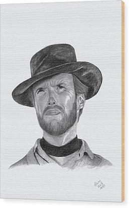 Clint Eastwood Wood Print by Patricia Hiltz