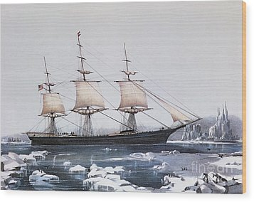 Clipper Ship Red Jacket In The Ice Off Cape Horn On Her Passage From Australia To Liverpool Wood Print by American School