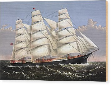 Clipper Ship Three Brothers Wood Print by War Is Hell Store