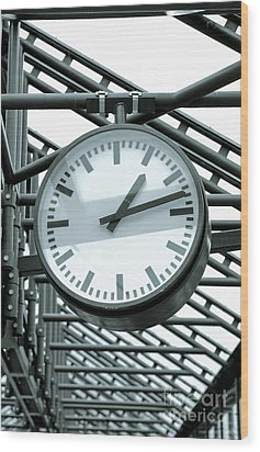 Clock Wood Print by Design Windmill