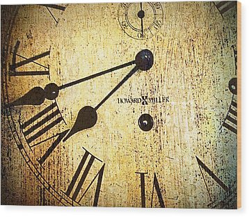 Clock Face Wood Print by Suzanne Powers