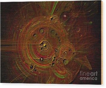 Wood Print featuring the digital art Clockwork by Alexa Szlavics