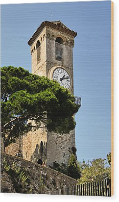 Clock Tower - Cannes - France Wood Print by Christine Till