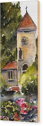 Wood Print featuring the painting Clock Tower England by Marti Green