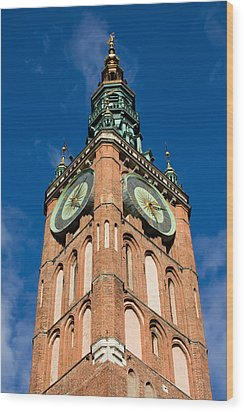 Clock Tower Of Main Town Hall In Gdansk Wood Print by Artur Bogacki