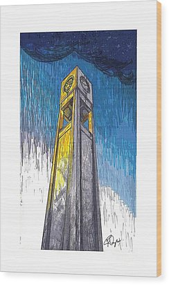 Clock Tower Wood Print