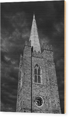 Clock Tower - St. Patrick's Cathedral - Dublin Wood Print by Photography  By Sai