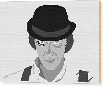 Clock Work Orange Malcolm Mcdowell Wood Print by Paul Dunkel