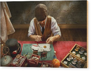Clockmaker - A Demonstration In Horology Wood Print by Mike Savad