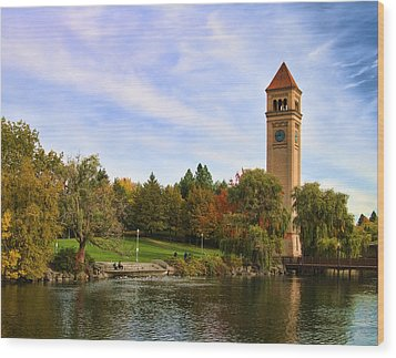 Clocktower And Autumn Colors Wood Print