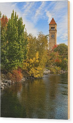 Clocktower In Fall Wood Print