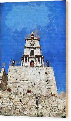 Clocktower With Guarding Knights Painting Wood Print by Magomed Magomedagaev