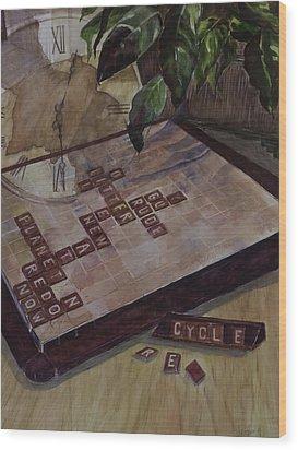 Clockwise Green Wood Print by Janet Felts
