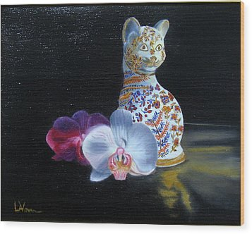 Wood Print featuring the painting Cloisonne Cat by LaVonne Hand