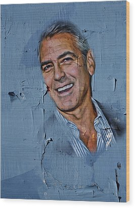 Clooney On Board Wood Print