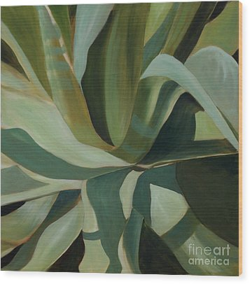Wood Print featuring the painting Close Cactus by Debbie Hart