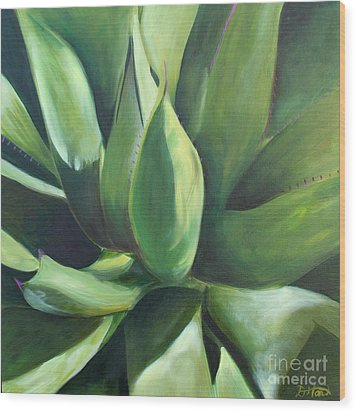 Close Cactus II - Agave Wood Print by Debbie Hart