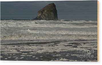 Close Haystack Rock Wood Print by Susan Garren