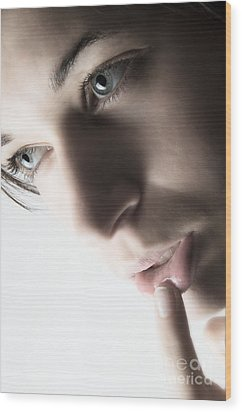 Close Up Of Beautiful Female Model Wood Print by Michal Bednarek