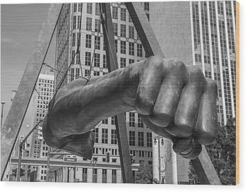 Close Up Of Joe Louis Fist Black And White  Wood Print