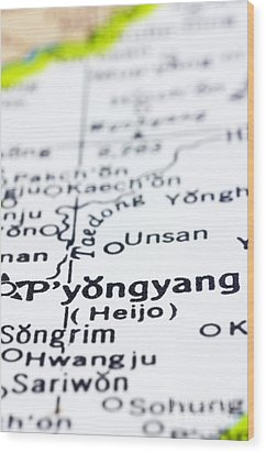 close up of Pyongyang on map-North Korea Wood Print by Tuimages