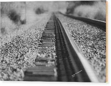 Wood Print featuring the photograph Close Up Of Rail Road Tracks by Karen Kersey