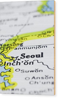 close up of Seoul on map-korea Wood Print by Tuimages