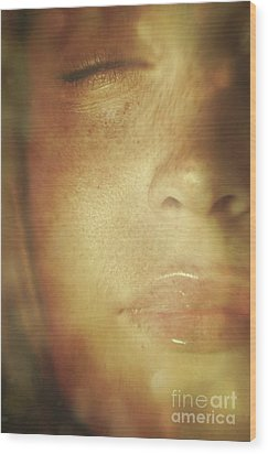 Close-up Of  Woman's Face In Dreamlike State Wood Print by Sandra Cunningham
