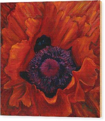 Close Up Poppy Wood Print