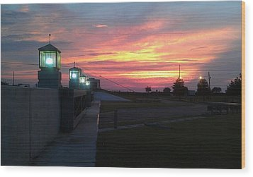 Closed Flood Gates Sunset Wood Print by Deborah Lacoste