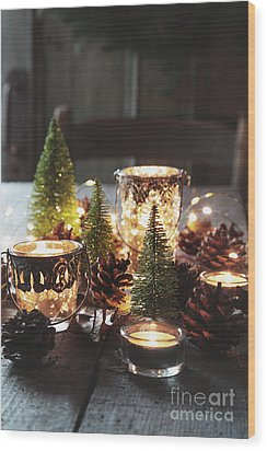 Wood Print featuring the photograph Closeup Of Candles And Decorations For The Holidays by Sandra Cunningham