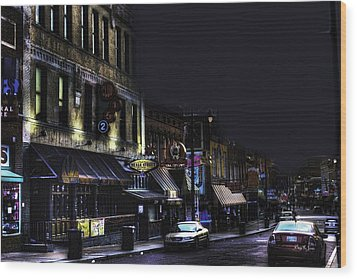 Memphis - Night - Closing Time On Beale Street Wood Print by Barry Jones
