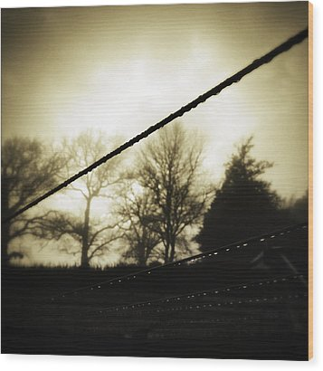 Clotheslines  Wood Print by Les Cunliffe