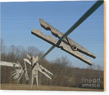 Wood Print featuring the photograph Clothespin In Winter by Jane Ford