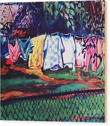 Clothing Line Wood Print by Ecinja Art Works