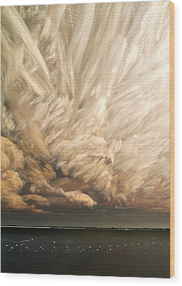 Cloud Chaos Cropped Wood Print