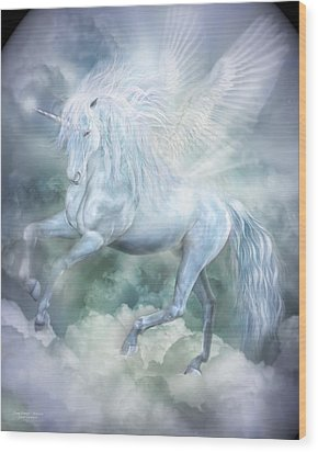 Wood Print featuring the mixed media Unicorn Cloud Dancer by Carol Cavalaris