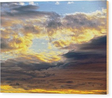 Cloud Finds Day Wood Print by Q's House of Art ArtandFinePhotography