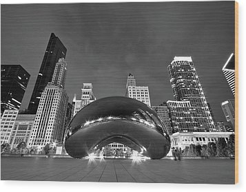 Cloud Gate And Skyline Wood Print by Adam Romanowicz